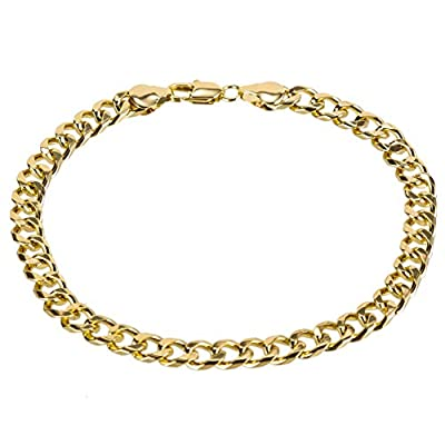 kelistom 14K White Gold Plated 7mm Cuban Link Flat Chain Anklet for Women Men, Curb Chain Ankle Bracelet for Women Men 9 10 11 inches (10, 14K-Gold-Plated)