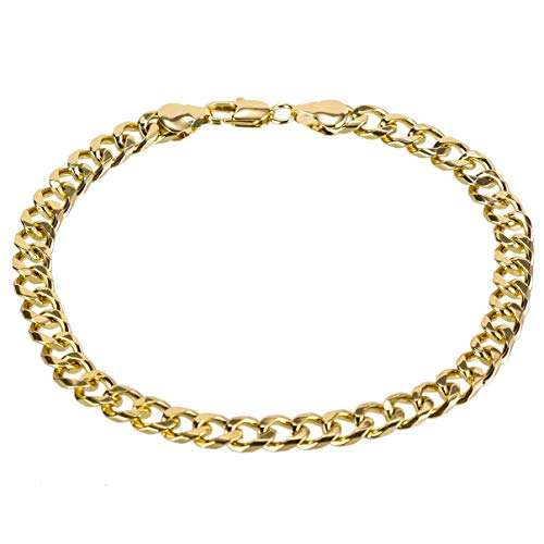 kelistom Gold Cuban Link Anklet Bracelet for Women Men, 7mm Wide 14K Gold / 18K Gold/White Gold Plated Diamond Cut Curb Chain Ankle Bracelets for Women Men 9 10 11 inches