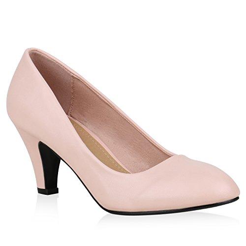 Klassische Damen Pumps Stilettos Abend Leder-Optik Glitzer Metallic Lack Schleifen Tanz Braut Schuhe 132914 Apricot 38 Flandell