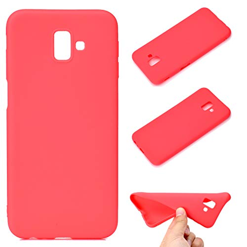 LeviDo Coque Compatible pour Samsung Galaxy J6+/J6 Plus 2018 Étui Silicone Souple Bumper Antichoc TPU Gel Cover Bonbons Couleurs Ultra Fine Mince Caoutchouc Etui, Rouge