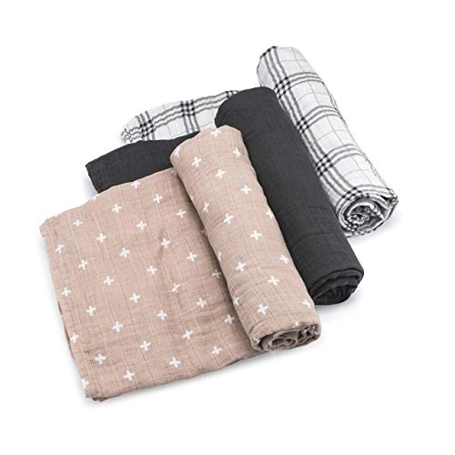 Parker Baby Swaddle Blankets - 3 Pack of 100% Cotton Muslin Swaddle Blankets for Baby Boys and Girls - Unisex/Gender Neutral - Classics Set