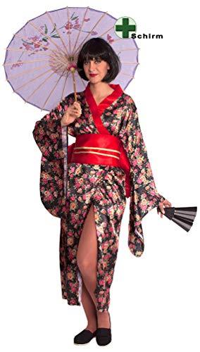 Karneval-Klamotten Geisha Kostüm Damen Japanerin Chinesin Asiatin Damenkostüm Kimono INKL. China Schirm