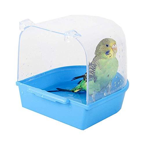 QQRR Baño de Loros, 13 * 13 * 13.5cm Baño de Pájaros, Accesorios para Jaulas de Pájaros, para Gatos, Pinzones, Periquitos, Hongos Blancos, Alondras y Pájaros Pequeños (Azul)