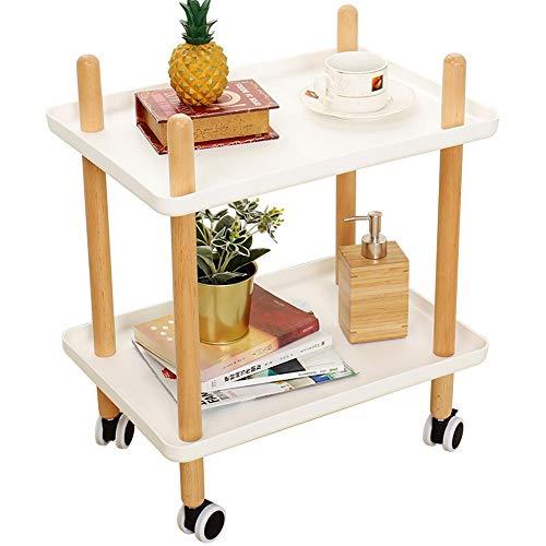 DNSJB Bijzettafel met wielen, Tray End Table woonkamer slaapkamer, 2-dieren-nachtkastje, dienstprogramma, rolwagen, 2 kleuren