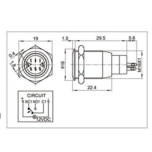 "Yakamoz DC12V 16mm 5/8"" Green Ring Led Metal Self-locking Latching Push Button Switch Industrial Boat Car DIY Switch Black"