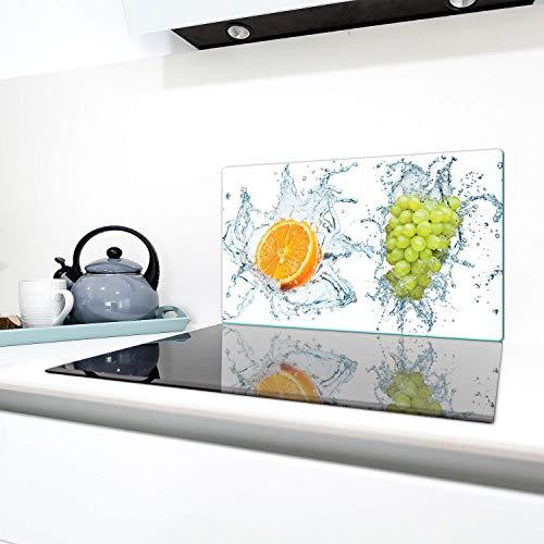 QTA - Cubiertas para vitrocerámica (90 x 52 cm, protección contra salpicaduras, placa de cristal), diseño de frutas, color blanco