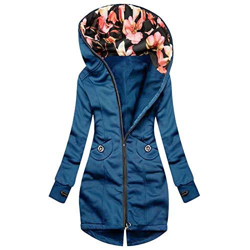 TDEOK Lange warme Winterjacke für Damen mit Blumendruck im Inneren Hutmantel Kordelzug mit Kapuze schlanke Modetasche bequeme Jacke Mantel Damen Kapuzen-Reißverschluss-Pullovermantel