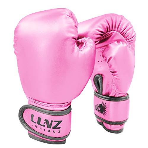Luniquz Boxhandschuhe für Kinder Boxsack Sparring Fit Jungen Mädchen (6OZ, Rosenrot)