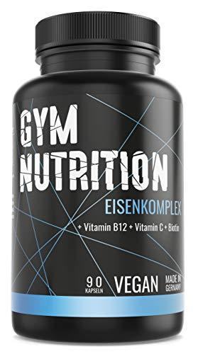EISEN Komplex- Eisen + Biotin + Vitamin B12 + Vitamin C Hochdosiert, vegan und ohne Zusätze Laborgeprüft - Made in Germany 90 Kapseln