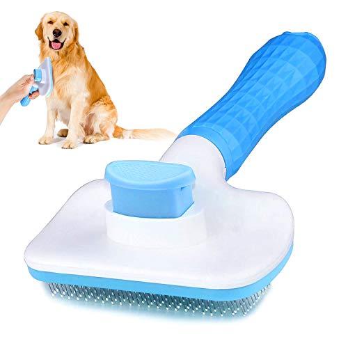 WELLXUNK® Haustier Bürsten, Hundebürste Katzenbürste, Haar Entferner Haustierbürste für Langhaar und Kurzhaar, Sauberes Haustierhaar von der Bürste mit Einem Knopf (Blau)