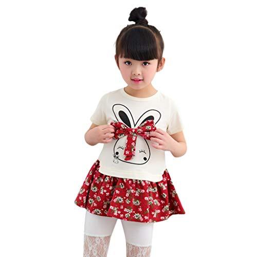 Xmiral Mädchen Karikatur Kaninchen Blumenprinzessin Partei Kleid Kleidung Kleinkind Kleider Baby Süßes Pullover Netz Tutu(Rot,5-6 Jahre)