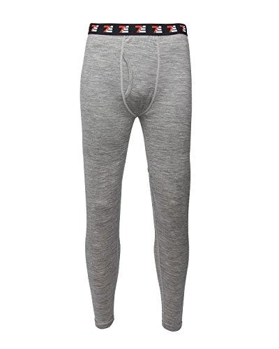 7EVEN 100% Merino Wool Mens Base Layer Bottom (Grey, Large)