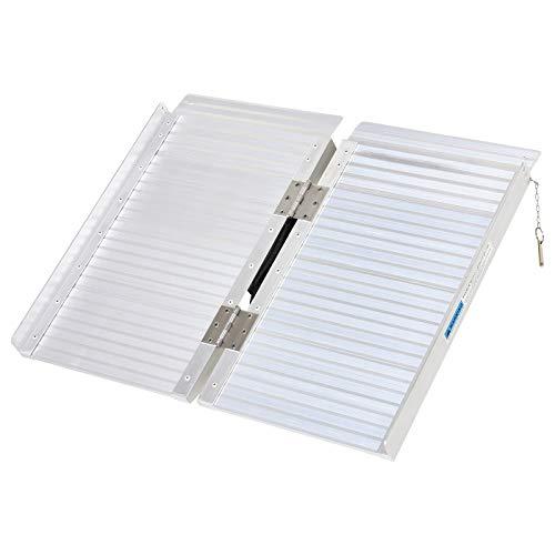 HOMCOM Portable Textured Aluminum Folding Wheelchair Threshold Ramp, 2'
