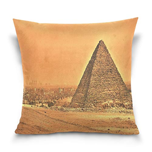 lucies Throw Pillow Case Decorative Cushion Cover Square Pillowcase, Giza Pyramids Egyptian Sofa Bed Pillow Case Cover(18x18inch) Twin Sides