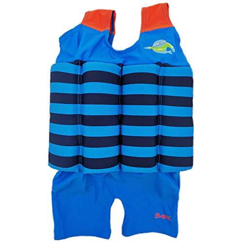 Gifts Treat Kinder-Schwimmanzug, Baby Junge Mädchen Sonnenschutz Schwimmend Bademode mit Regulierbarem Auftrieb, UPF 50+ (Blau Schwarz Streifen, XS)