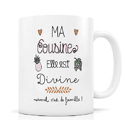 Label Tour, mug créabisontine Ma cousine Elle est Divine