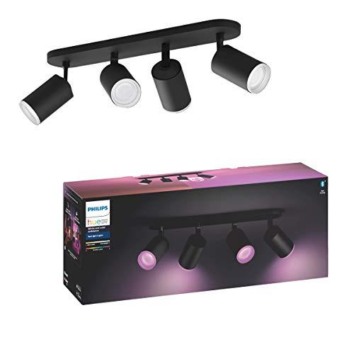 Philips Hue White & Col. Amb. Bluetooth 4-er Spotleuchte Fugato, LED GU10, schwarz, dimmbar, 16 Mio. Farben, steuerbar via App, kompatibel mit Amazon Alexa (Echo, Echo Dot)