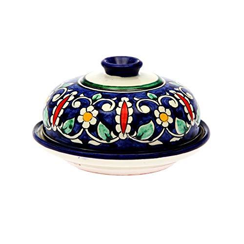 runde Butterdose mit Deckel aus Original Rishtan Keramik, Butterglocke in buntem Orient Design, Handbemalt, Ø 14 см