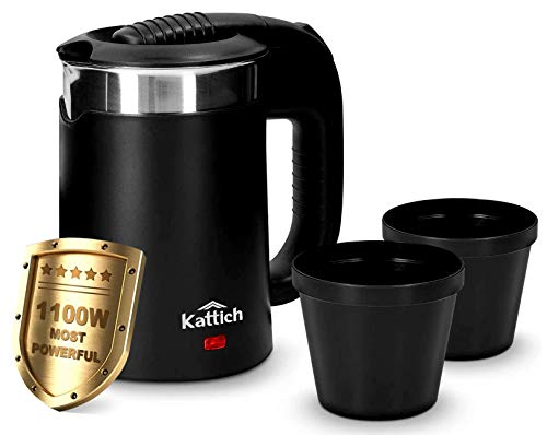 KATTICH 0.5 Litre 1100W Double Wall Steel Body Portable Travel Electric Kettle for Water/Tea/Coffee/Milk/Noodle with Rapid Heating by Concealed Element, Auto Shut Off & Dry Boil Protection (Black)
