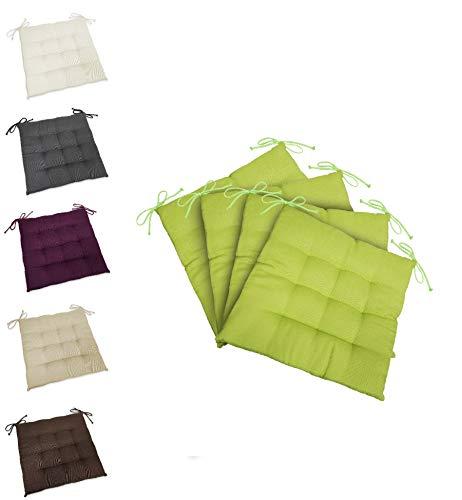 wometo 4er Set Sitzkissen Stuhlkissen Sitzpolster Stella 40x40 cm - grün grasgrün hellgrün Sitzauflage Auflage für Haus und Garten Polster Kordelbänder für sicheren Halt gemütlich