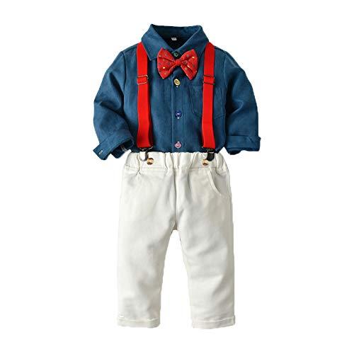 """""""N/A"""" Disfraces para niños Monos De Camisa con Pajarita De Manga Larga para Niños Navideños Adecuados para Fiestas Navideñas En Interiores Y Exteriores,Blue,80CM"""