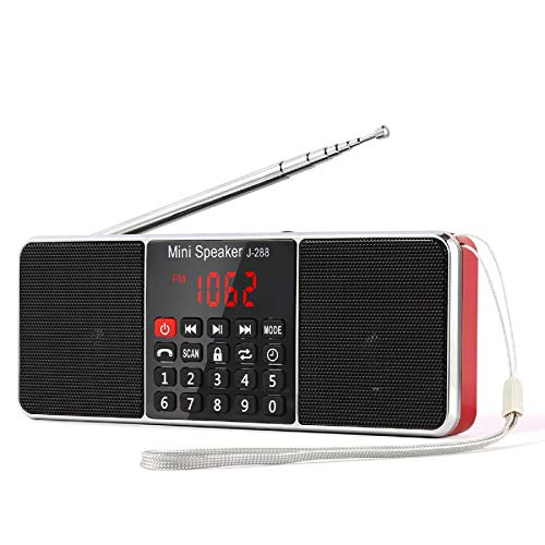 PRUNUS J-288 Portable Radio AM FM Battery Operated Radio with Bluetooth Speaker, Sleep Timer, Power-Saving Display, Ultra-Long Antenna, AUX Input & USB Disk & TF Card MP3 Player (RED)