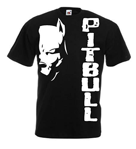 Generico t-Shirt Pitbull Fight Cane Dog Kick Boxing Boxe Idea Regalo 12 Colori Anche per Bambini(L, Nero)