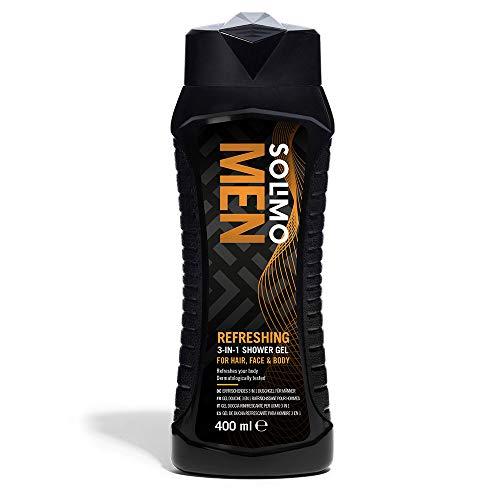 Amazon-Marke: Solimo 3-in-1 (Körper, Gesicht, Haar) Erfrischendes Duschgel für Männer - 6er-Pack (6 Flaschen x 400 ml)