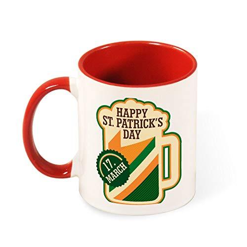 Cheyan grappige koffie kleur binnen en handvat mok thee Cup 11oz Saint Patricks dag klaver Vecteur Rood
