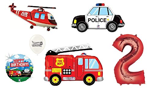 Review Red Number (1st-9th Birthday Option) Rescue Team Ambulance Fire Truck Police First Responders...
