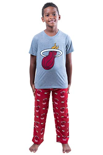 Ultra Game NBA Miami Heat Youth 2 Piece Pjs Lounge Pants & Tee Set, Team Color, 8