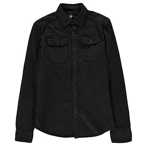 G-STAR RAW Herren Landoh Shirt l Smoking Hemd, Schwarz (990 Black), (Herstellergröße XS)