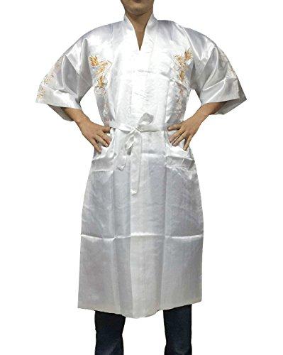 YL Homme Peignoir de Bain Kimono Souple Robe de Chambre Vêtement de Nuit Bordé de Dragon avec Ceinture (Blanc)