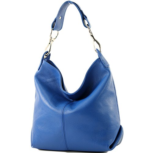 modamoda de - T168 - ital Schulter-/Umhängetasche aus Leder, Farbe:Blau