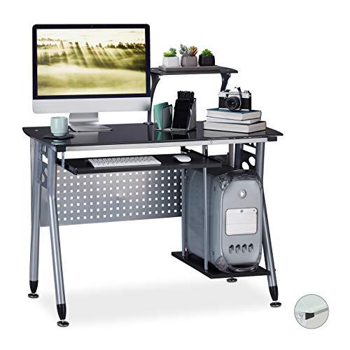 Relaxdays Computertisch Glas, Tastaturauszug & Fach für Rechner, HBT: 98 x 105 x 55 cm, modern, Arbeitszimmer, schwarz, PB, Metall