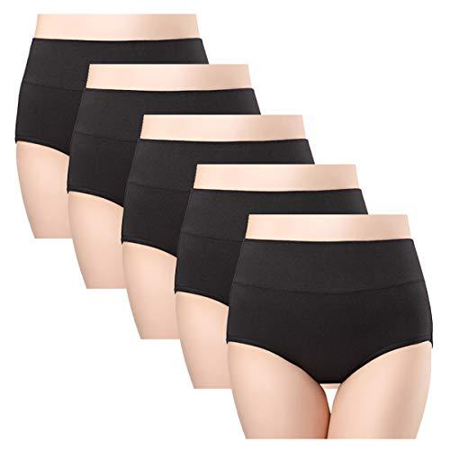 wirarpa Damen Baumwolle Unterwäsche Wochenbett Baumwollunterhosen Kaiserschnitt Unterhose 5 Pack Schwarz Slips Größe 48 50 52