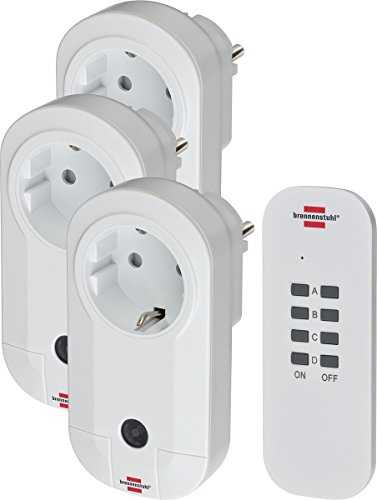 Brennenstuhl Funkschalt-Set RC CE1 3001 neu (3er Funksteckdosen Set Innenbereich, mit Handsender und Kindersicherung) weiß (3 Funksteckdosen [neue Ausführung])