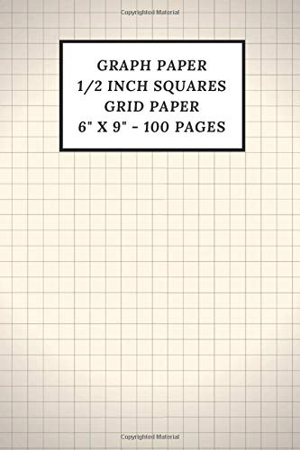 Graph Paper Notebook: Large 1/2 inch Squares (100 Pages Thick Solid Lines)