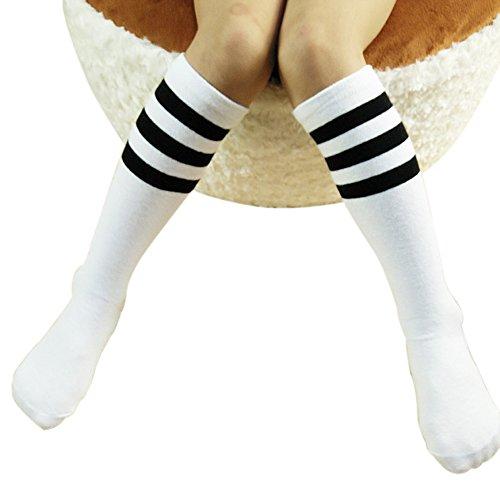 ZUMUii Butterme Chaussettes hautes classiques en coton pour bébé et enfant de 1 à 3 ans Blanc avec rayures noires