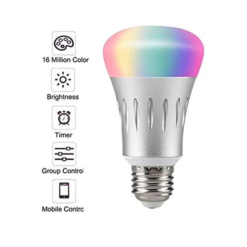 Energiesparlampen, Smart WiFi Licht, Dimmbar 7 W RGB LED Birne E27 Kompatibel Mit Amazon Alexa Fernbedienung Von Smartphone Ios & Android, Entspricht 60 W