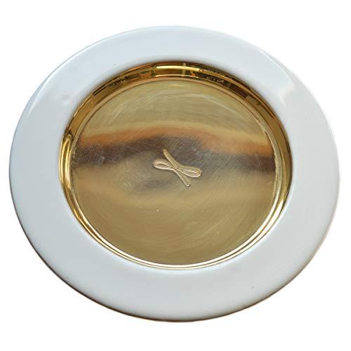 Junker Kirchenbedarf Kerzenteller Dekoteller Untersetzer Gold mit weißem Rand - Kerzenständer Messing poliert goldfarben mit weißer Emaille, Außen-Ø 12cm, Innen-Ø 8cm
