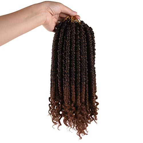 FASHION LADY Ombre Spring Senegalese Twist Crochet Hair with Curly Ends 14Inch 6 Packs Crochet Braids Bomb Twist Braiding hair Pre-looped Fluffy Twist Hair