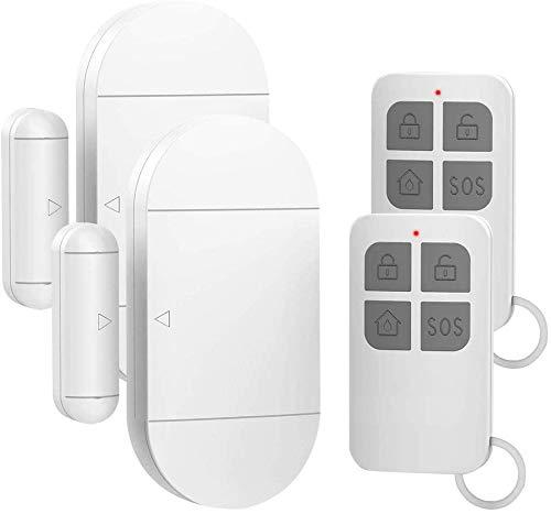 Shackcom 2pcs Alarma para Puertas y Ventanas con Control Remoto para casa con Sensor Magnético Inalámbrico para Sistema de Seguridad para el hogar - Antirrobo Detectores Sirenas con Pilas-130db