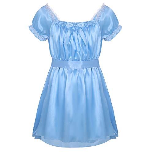 Alvivi Men's Lingerie Shiny Satin Nightwear Pajamas Sissy French Maid High Low Dress with Sash Blue X-Large