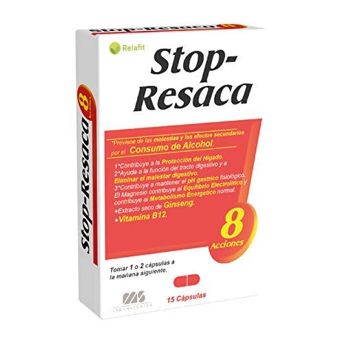 Stop Resaca – 15 Cápsulas | Relafit - Laboratorios MS | Vitamina C y E | Contribuye a la reducción de los efectos secundarios provocados por el consumo de alcohol.