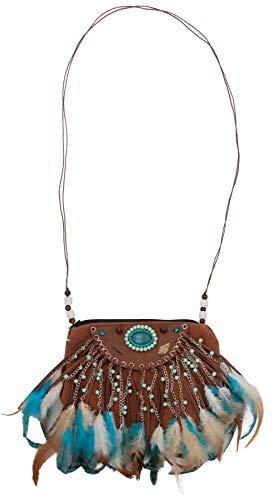 narrenkiste O48216 braun-türkis Damen Indianertasche mit Federn Damentasche