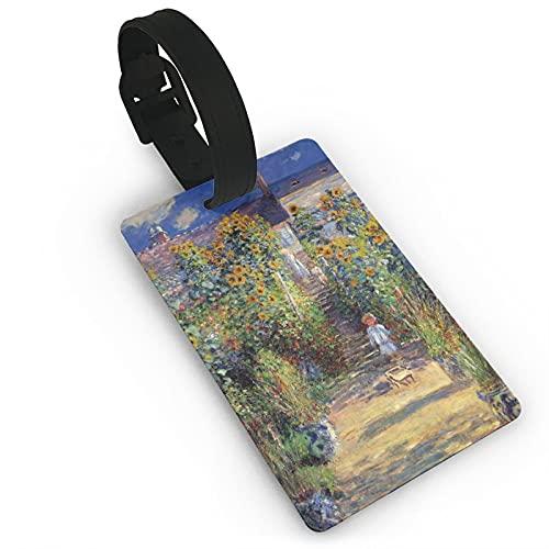 Etiqueta de equipaje para niños que pintan en un camino de jardín, etiqueta de equipaje de viaje, etiquetas de maleta unisex, cubierta de privacidad duradera