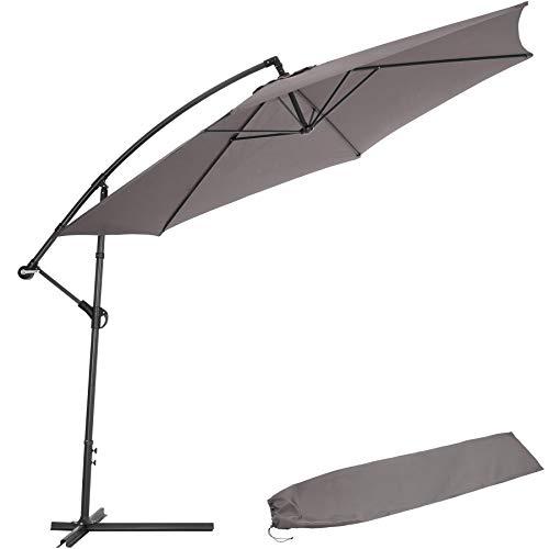 TecTake 800033 Sonnenschirm Ampelschirm mit Gestell + UV Schutz 350cm + Schutzhülle - Diverse Farben - (Grau | Nr. 403428)