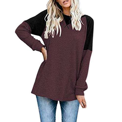FIDOZ Women's Oversized Long Sleeve Elegant Basic Classical Sweatshirt Jumper Pullover Womens Casual Crew Neck Color Block Cotton Linen Loose Fit Tunic Tops T-Shirt Blouses Tees Party Shirts Red
