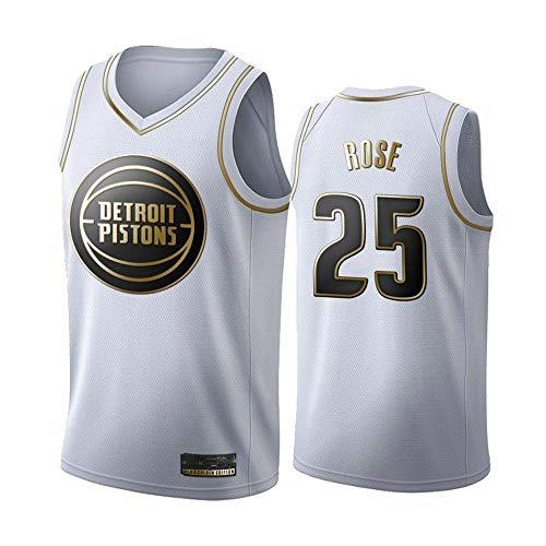 XIAOHAI NBA Basketball Jersey Detroit Pistons # 25 Derrick Rose Rosa Resistente al Desgaste Bordeado Baloncesto Baloncesto Swingman Jerseys Camiseta Deportiva Jerseys,S